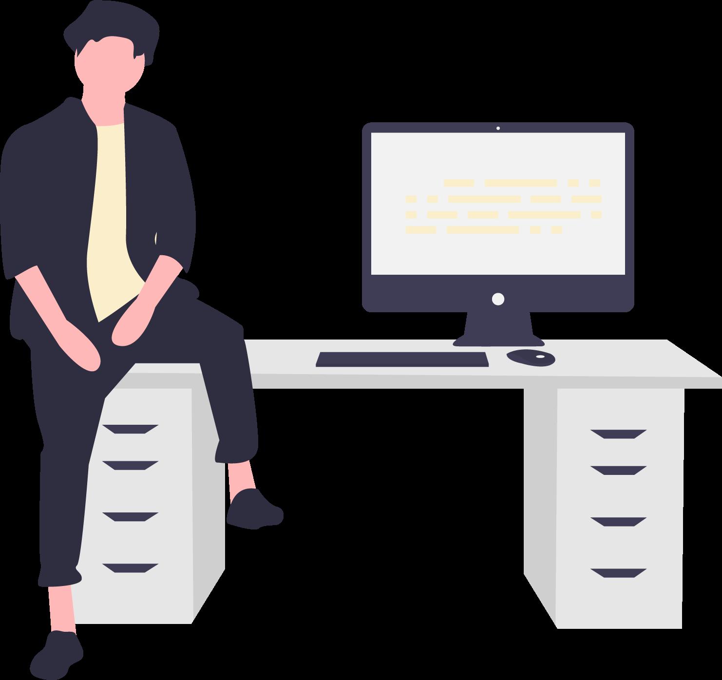 skrivebord og computer
