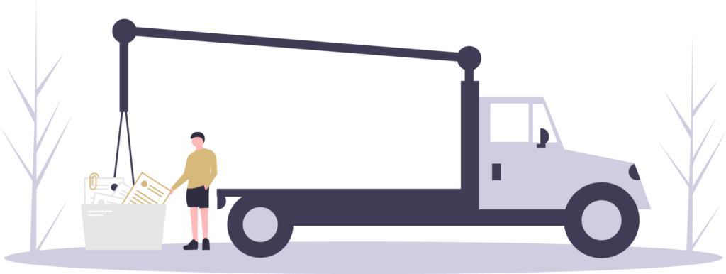 lastbil med tekster