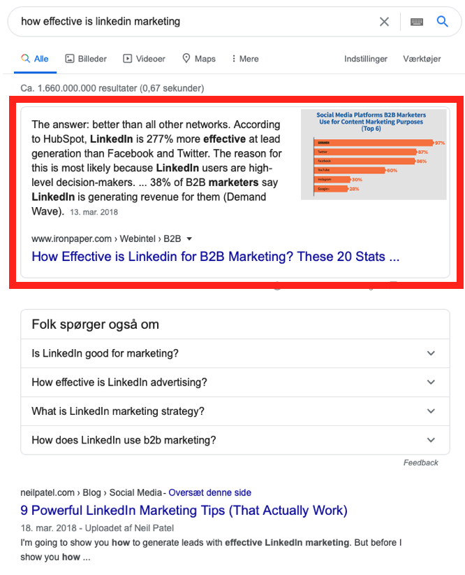 google featured snippet placering 0