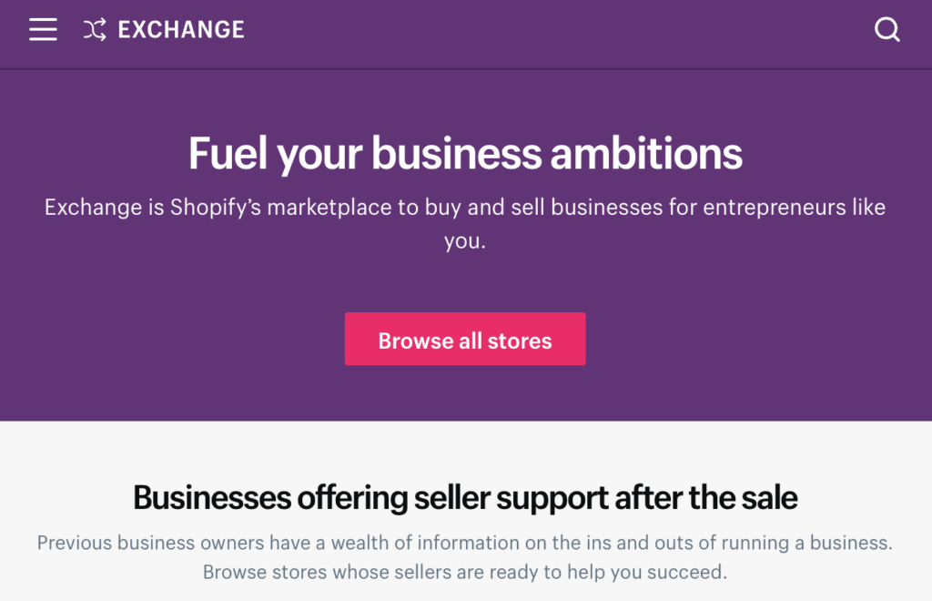 shopify marketplace buy and sell businesses